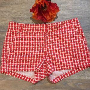 J.Crew Apple 🍎 Print Shorts Size 8